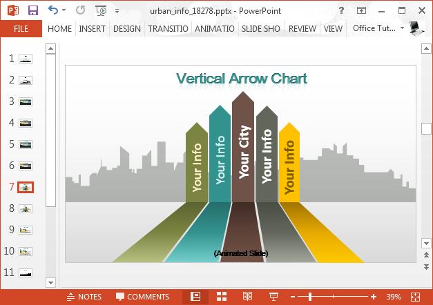 Vertical bar chart with city landscape