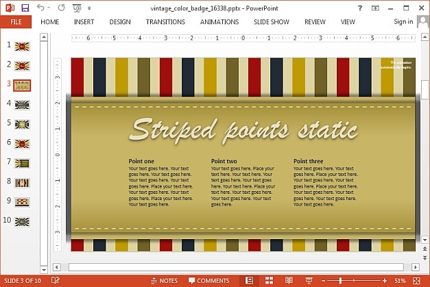 Vintage badges template for PowerPoint presentatons