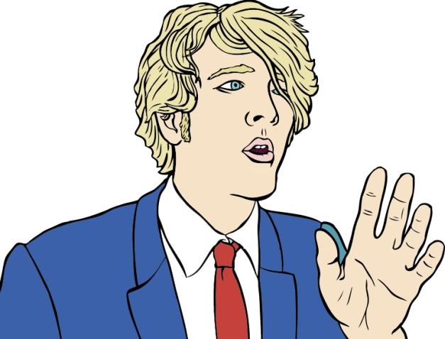 An illustration of a man modulating his voice while delivering a speech