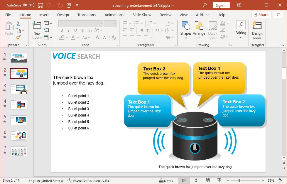 Voice search slide design