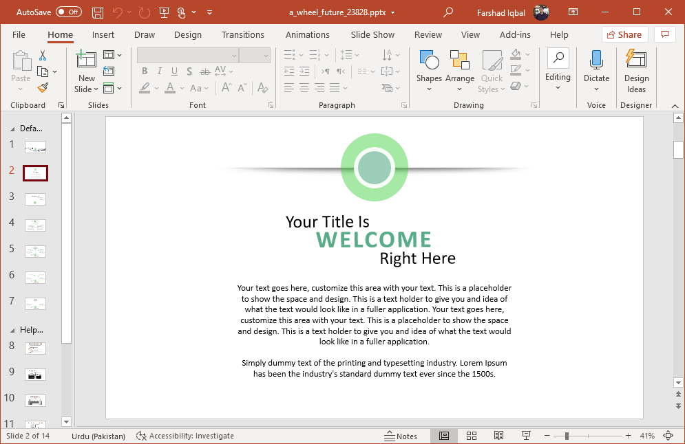 Wheel themed slides for PowerPoint