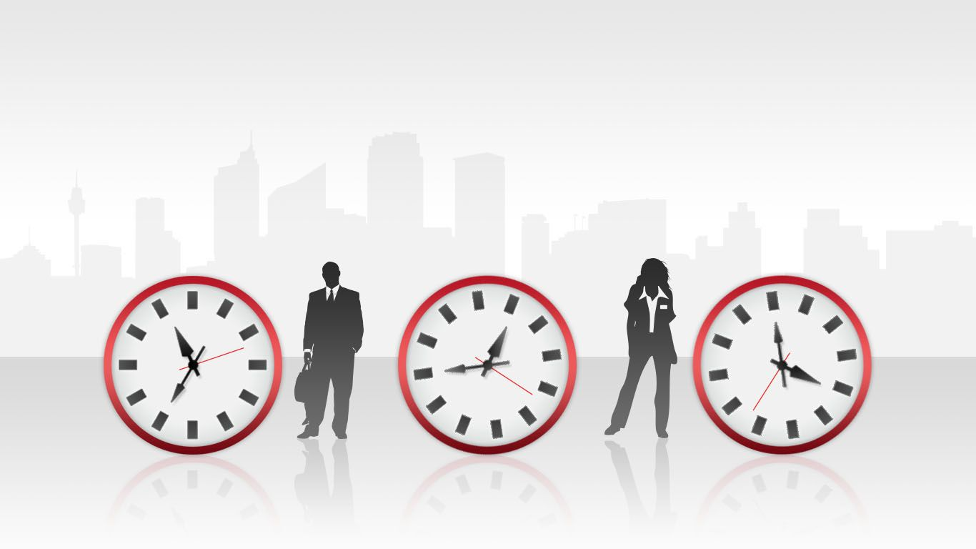Widescreen Time Management Red PowerPoint Template (16:9)