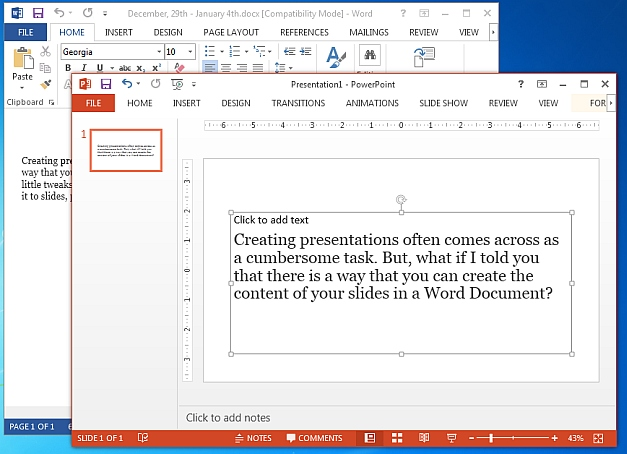 Word file exported to PowerPoint