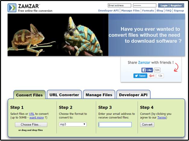 ZamZar audio converter