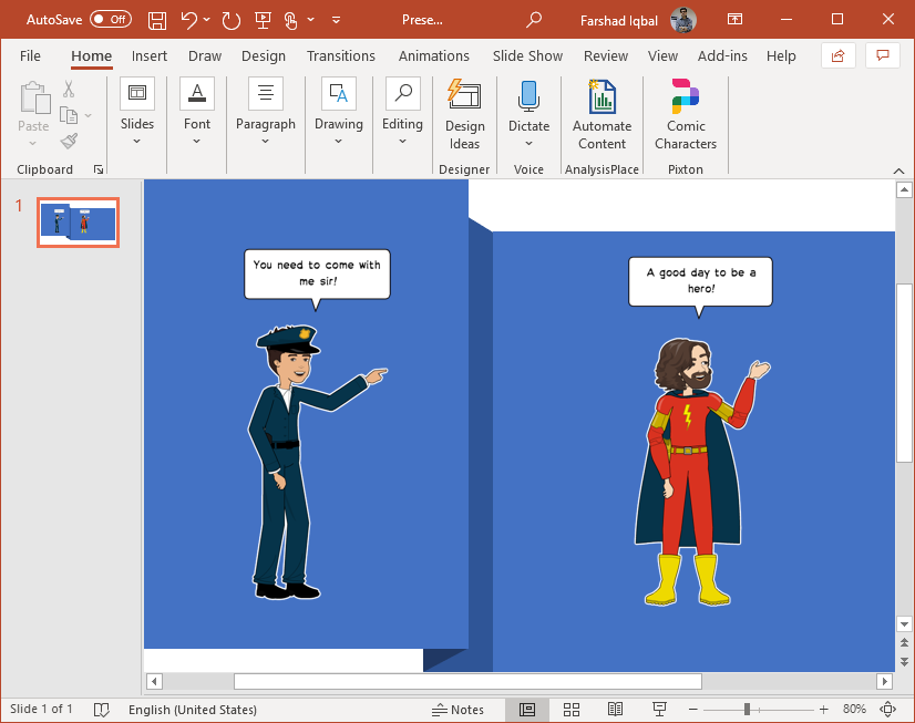 add comic book characters to make slides