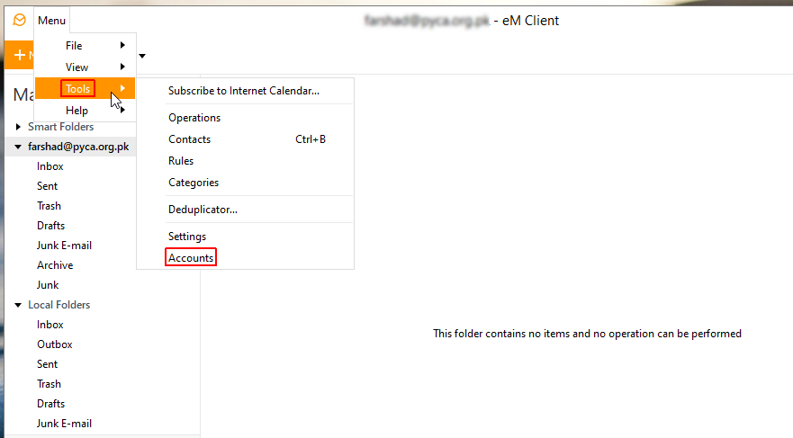 add mail account to em client