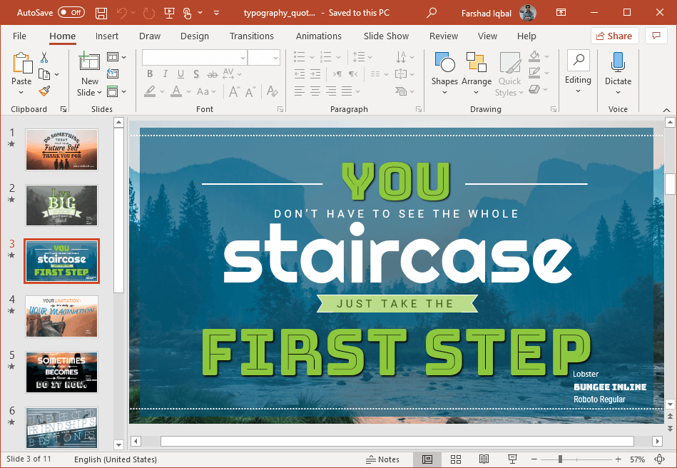 add quotes to slides