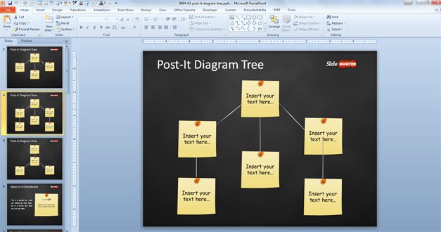 Tree Diagram for PowerPoint created with post it notes