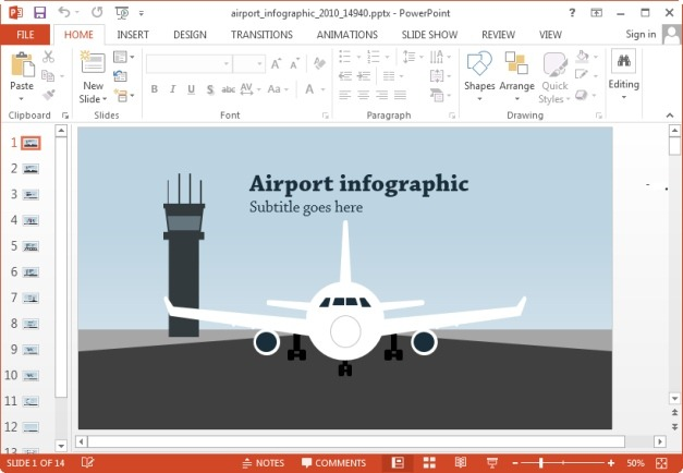 animated airport infographic powerpoint template