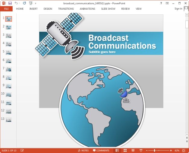 animated broadcast communications template for powerpoint