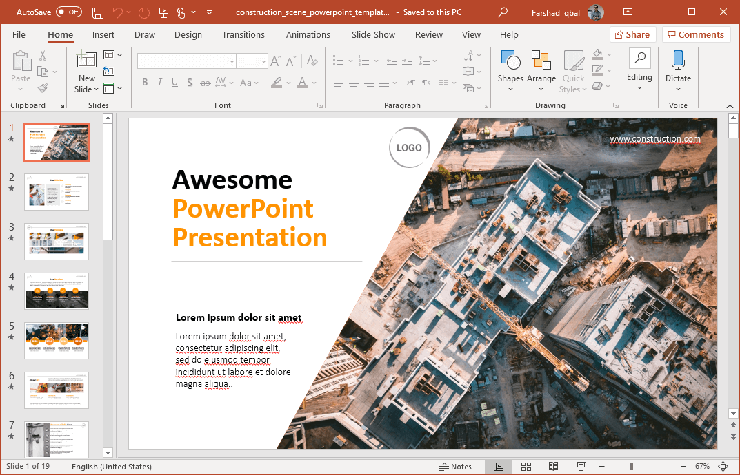 animated building construction powerpoint template
