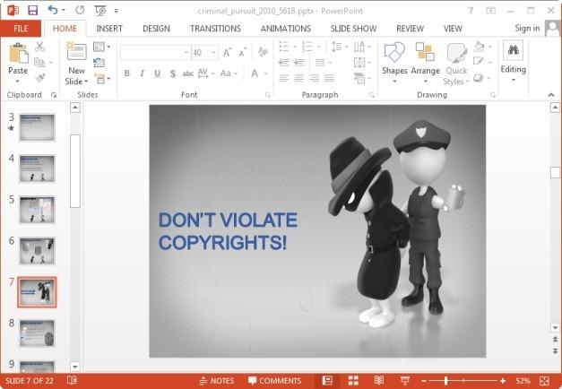 animated criminal pursuit powerpoint template