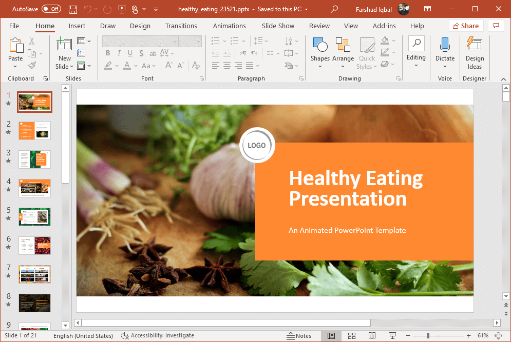 animated healthy eating nutrition template for powerpoint