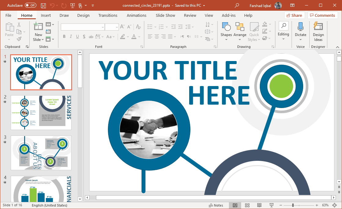 animated network circles template for powerpoint