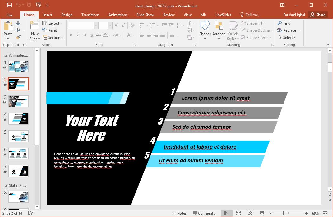 slant design animated powerpoint template