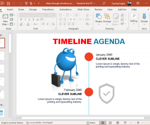 animated slide through character timeline powerpoint template