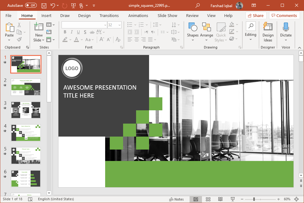 animated squares powerpoint template
