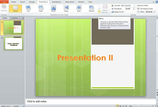 Example of animated transition in Microsoft PowerPoint presentations