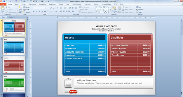 Balance Sheet Example in PowerPoint