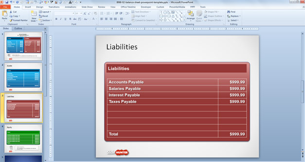 Free Balance Sheet PowerPoint Slide Design