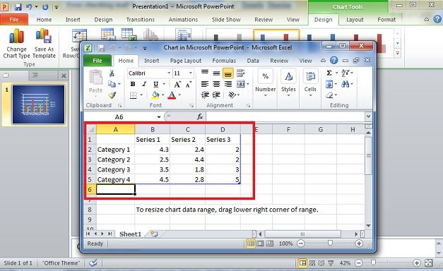 bar graph using excel data into powerpoint