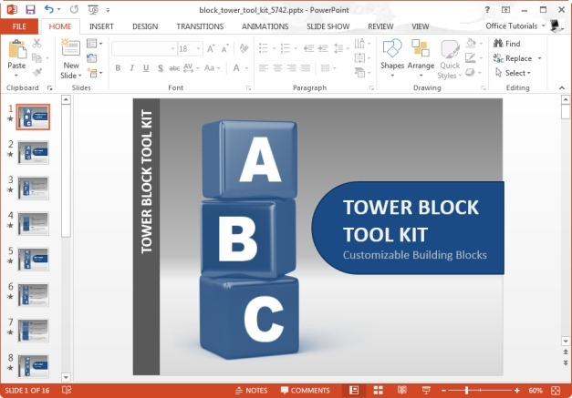 block tower template for microsoft powerpoint