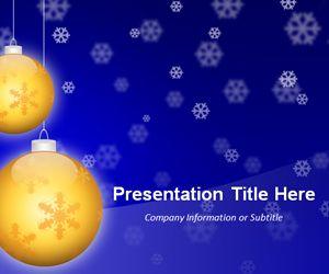 Golden Balls Blue PowerPoint Template