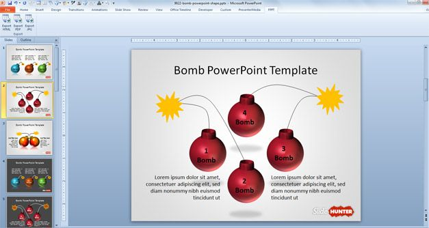 Free bomb PowerPoint background template