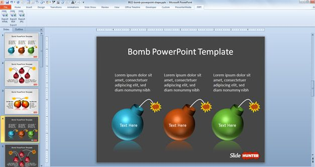 free bomb PPT template for presentations