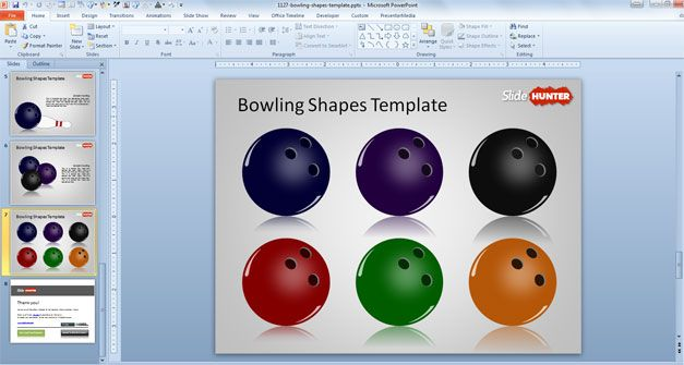 6 Bowling balls shapes with different colors