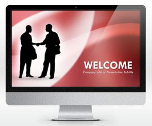 Widescreen Handshaking PowerPoint Template (16:9)