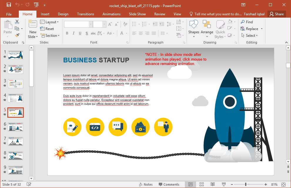 Business startup slide design