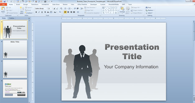 Business Team PowerPoint Template with CEO silhouette in the slide design