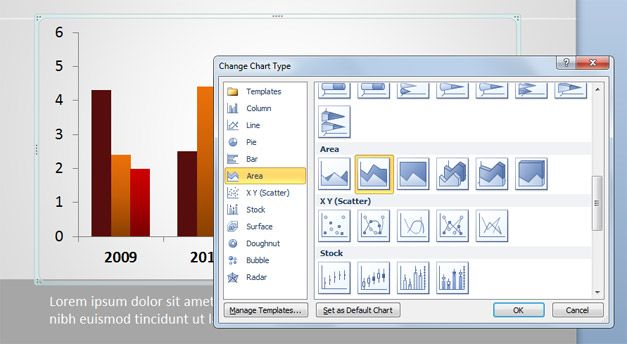How to change the Chart type in PowerPoint