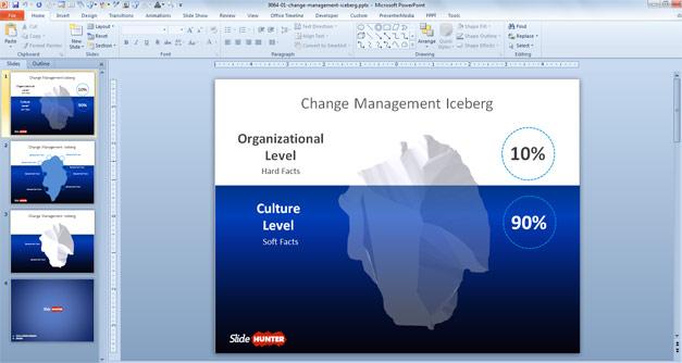 Change Management Iceberg Template for PowerPoint presentations with iceberg illustration in the slide design