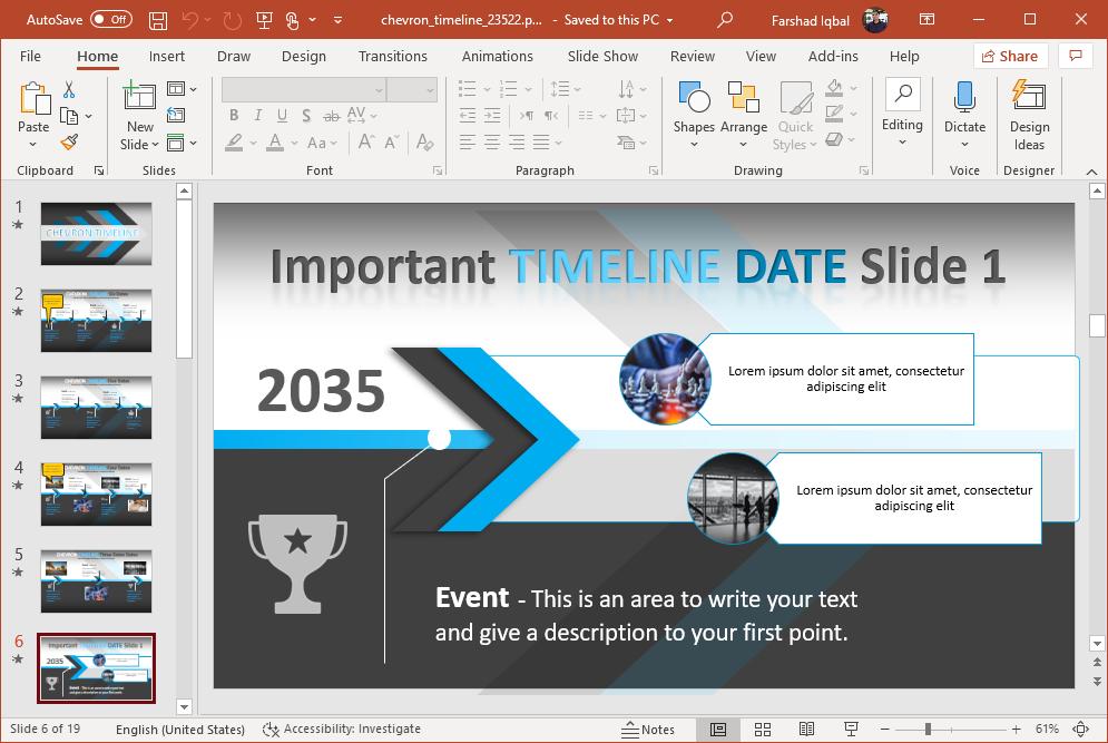 chevron design timeline for powerpoint