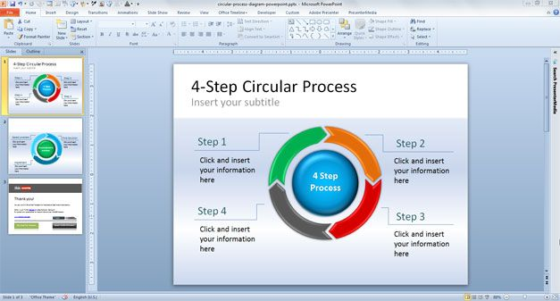 4 Step Circular Process Diagram for PowerPoint