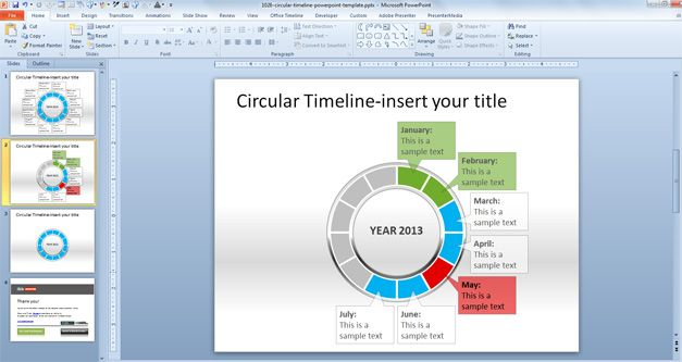 Circular Timeline PowerPoint Template 2013