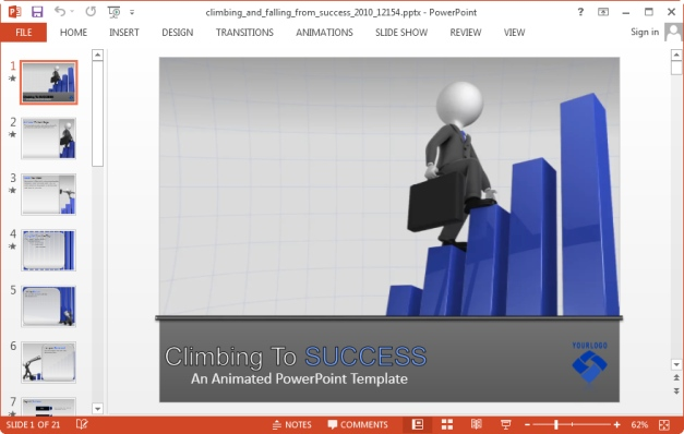 climbing to success template for powerpoint