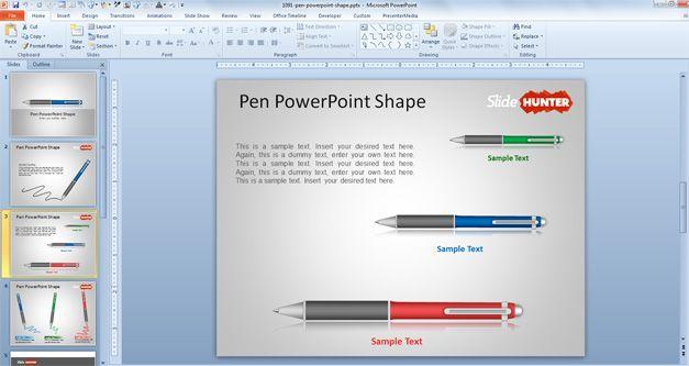 free Pen PowerPoint Shape