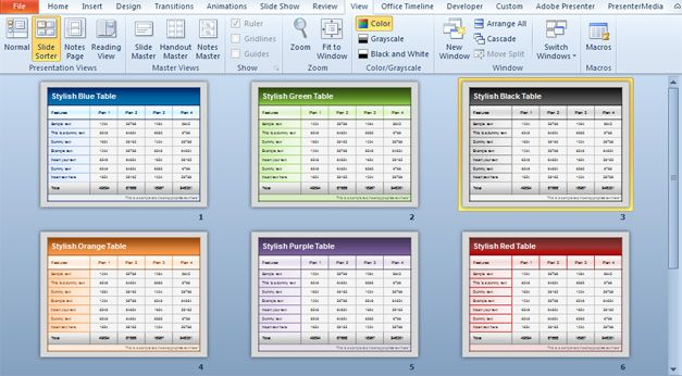 Free Table powerpoint template