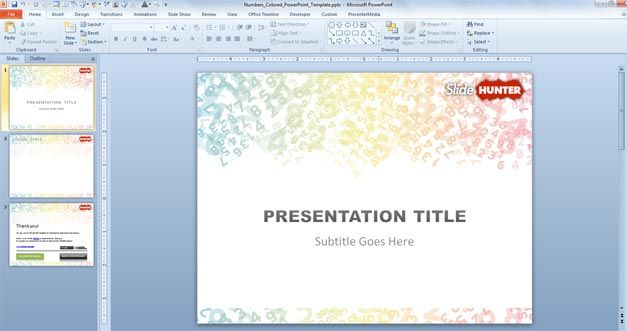 Colored Digits PowerPoint Template