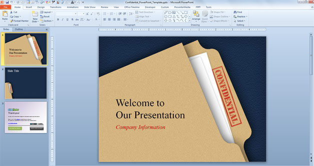 Confidential PowerPoint template with Folder in the slide design