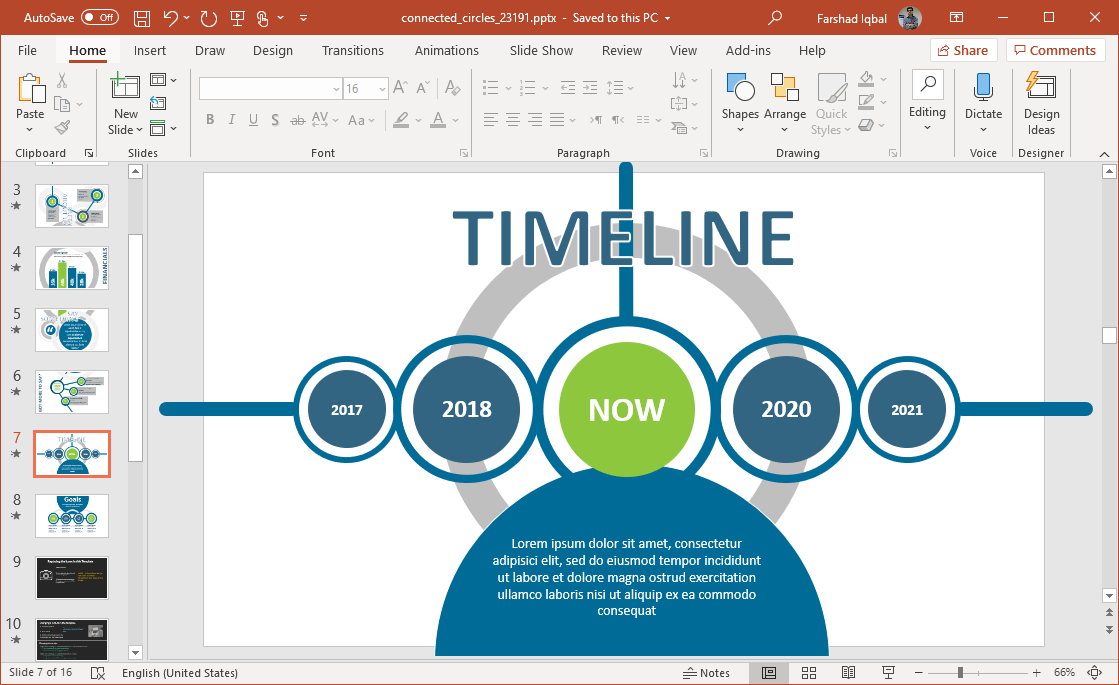 connected circles project timeline