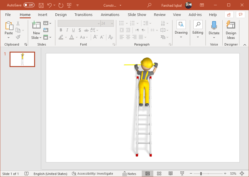 construction figure with measuring tape clipart for PowerPoint