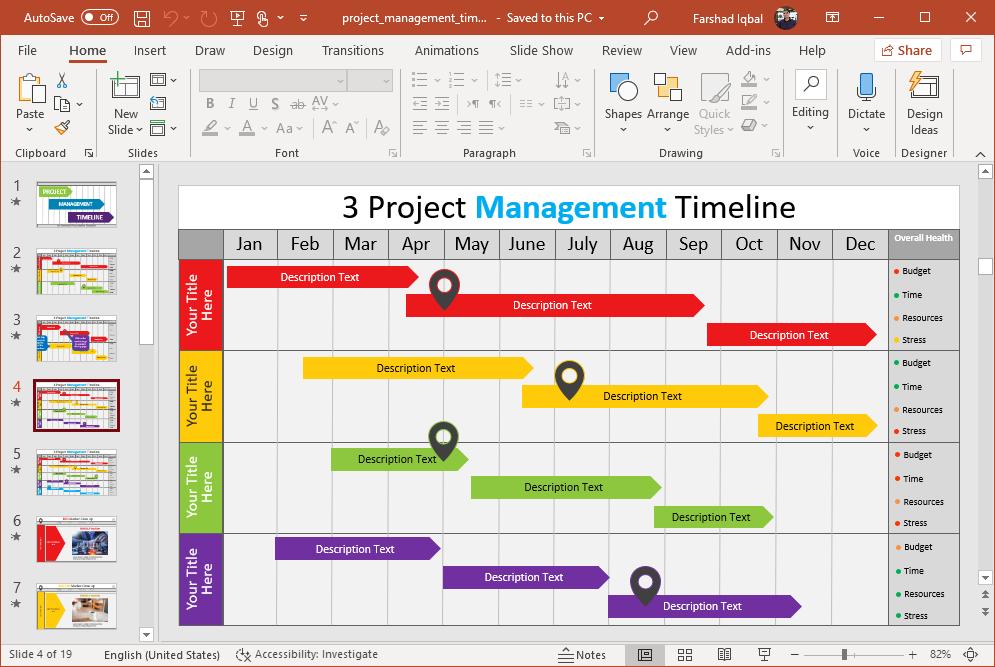 create a project gantt chart