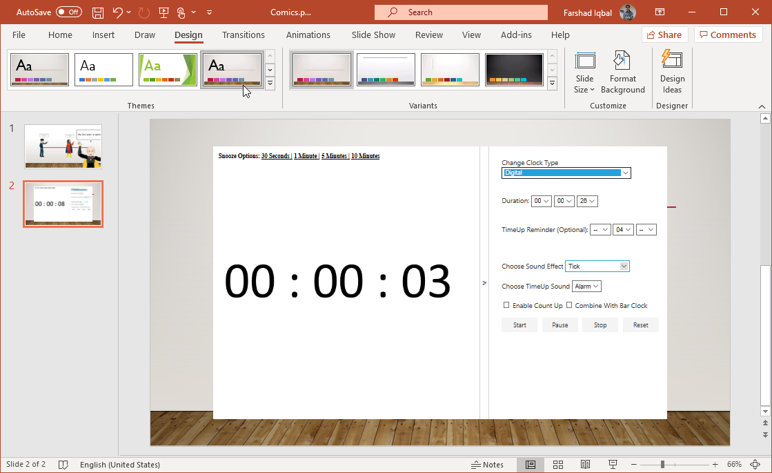 alarms for powerpoint sessions