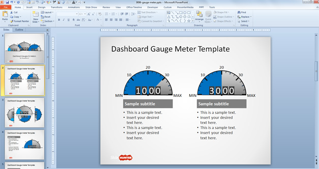 Two speedometer gauges for dashboards placed in two columns with editable textboxes and blue levels
