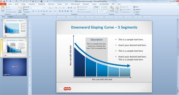 Downward sloping curve with 5 segments for PowerPoint presentations