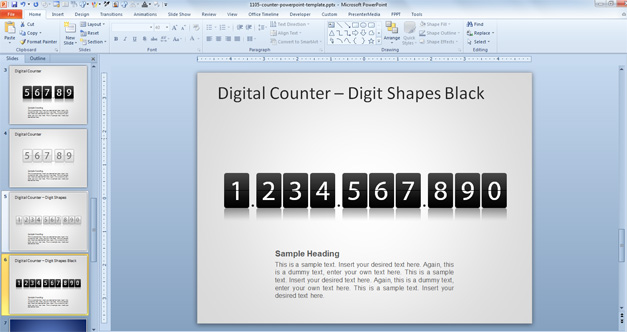 Example of digits in a Digital Counter PowerPoint template